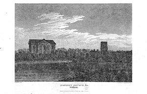 Church of St John-at-Hackney - 1812 engraving of the church, without a tower