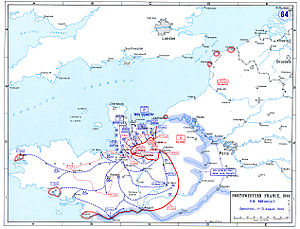 Seine River Crossing at Mantes-Gassicourt - Map showing the breakout from the Normandy beachhead
