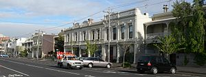 Albert Park, Victoria - Shops and terrace houses along commercial Bridport Street