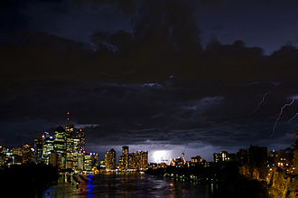 Brisbane - A spring storm with lightning over the central business district