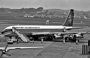 British Caledonian - British Caledonian Boeing 707-320C at Prestwick Airport ca. 1972.