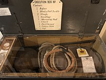 A box, c.3 ft long, 1 ft deep and 1 ft wide, containing all the equipment needed by an executioner, including ropes, block and tackle, straps, etc.