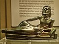 Bronze banqueter from the tripod support of a bronze bowl Laconian 530-500 BCE from Dodona British Museum.jpg