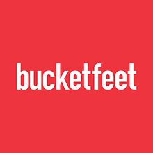 The Bucketfeet word mark with knock out type atop a red background