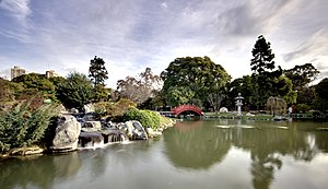 Buenos Aires Japanese Gardens - View of the carp lake.