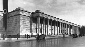 Führermuseum - The design of the Führermuseum was based in part on the Haus der Deutschen Kunst in Munich, shown above. Built in 1933-37 and designed by Paul Ludwig Troost, with considerable input from Hitler, the Haus was one of the first monumental structures built during the Nazi era.