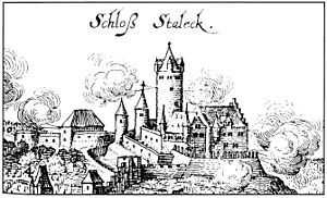 Stahleck Castle - Spanish forces defend Stahleck Castle against recapture by Swedes in 1632; engraving by Matthäus Merian, 1646
