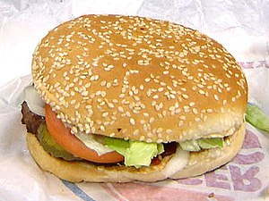 A Burger King hamburger, of which they've sold fewer ostensibly because they are social networking morons