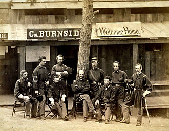 Ambrose Burnside - Burnside (seated, center) and officers of the 1st Rhode Island at Camp Sprague, Rhode Island, 1861