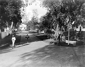 Tanjung Pinang - Street view with a Protestant church and the entrance of a mosque, c.1910