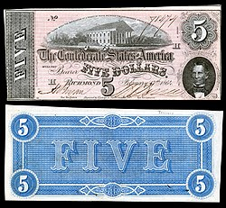 Virginia State Capitol depicted on an 1864 Confederate $5 banknote