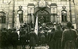 Šumperk - Czechoslovak soldiers occupy Šumperk in December 1918, photo taken the front of town hall