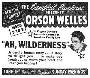 "Ah, Wilderness! - Newspaper advertisement for The Campbell Playhouse presentation of ""Ah, Wilderness"" (September 17, 1939)"