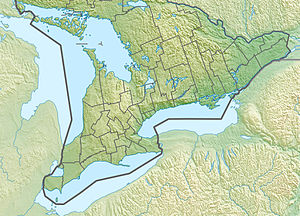 Map showing the location of Niagara Escarpment Biosphere Reserve