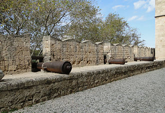 Fortifications of Rhodes - The cannons protecting the Palace of the Grand Master
