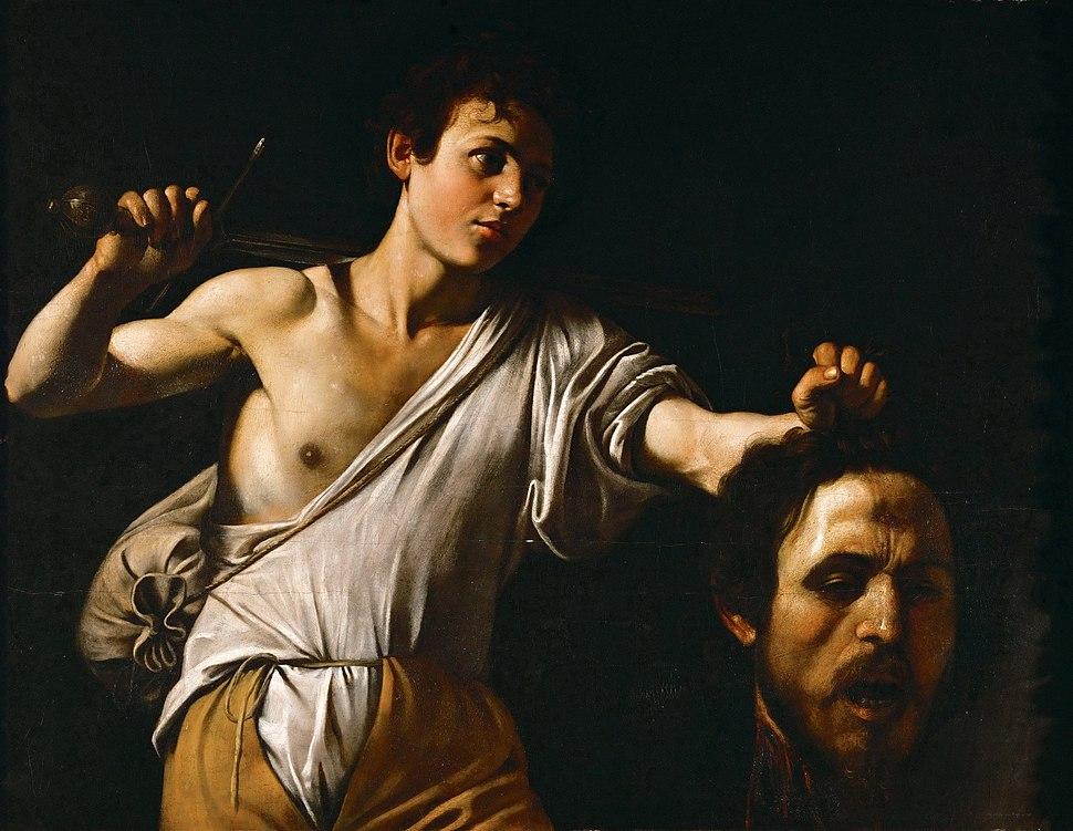 David tenant la tête de Goliath illustré par Le Caravage (1606-1607) Musée d'histoire de l'art de Vienne