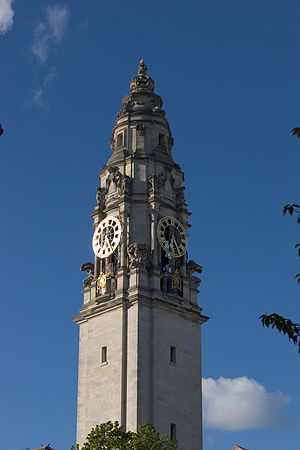 Politics of Wales - Clock tower of Cardiff City Hall
