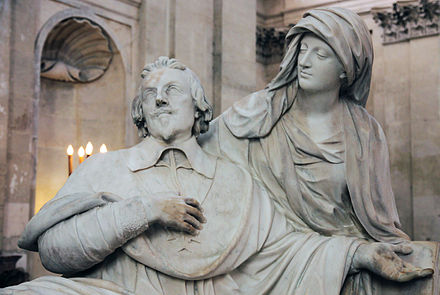 A baroque elaboration: Tomb of Cardinal Richelieu in the Chapelle de la Sorbonne, by Francois Girardon (ca. 1675-94), Paris. The Cardinal is dying in the arms of Piety. Cardinal richelieu tomb statue sorbonne.jpg