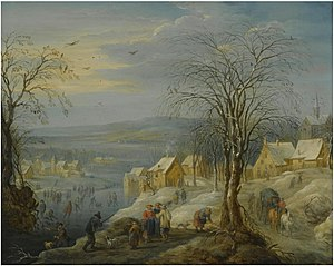 Carel Beschey -  A winter landscape with hunters and skaters