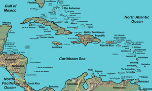 Operation Neuland - Map of the Caribbean Sea
