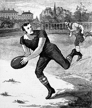 George Coulthard - Coulthard running with the ball against Geelong at the East Melbourne Cricket Ground on 17 July 1880