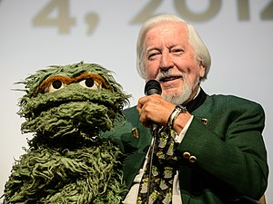 Oscar the Grouch - Oscar (left) with actor Caroll Spinney, who plays him.