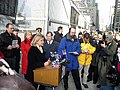 Carolyn Maloney, Hillary Clinton, and Jerrold Nadler speak in support of a comprehensive 911 commission bill.jpg