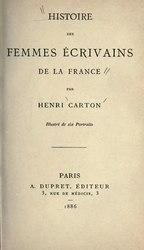 Henri Carton: Histoire des femmes écrivains de la France