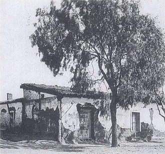 Casa de Estudillo - The dilapidated Casa de Estudillo, circa 1890, after the caretaker had sold off bits of the building.