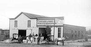 Livery yard - Cascade Livery, Feed and Stable, Montrose, Colorado, circa 1900