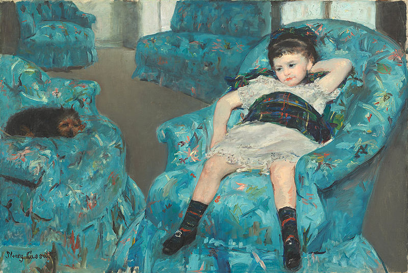 Cassatt blue mary in girl armchair