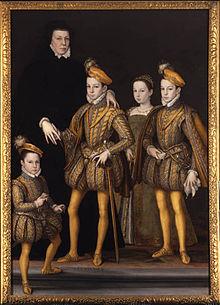 Caterina de'Medici in abiti vedovili e i figli: re Carlo IX, Margherita, Enrico d'Angiò e Francesco Ercole d'Alençon. 1561 circa.