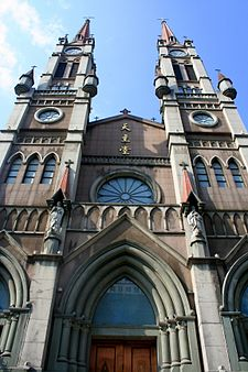 The Cathedral of the Sacred Heart of Jesus was built between 1872 and 1876, was closed by the government in 1963, and was reopened and renamed in 1980. It was recognized as a national heritage site in 2006. Cathedral of the Sacred Heart of Jesus Ningbo.jpg