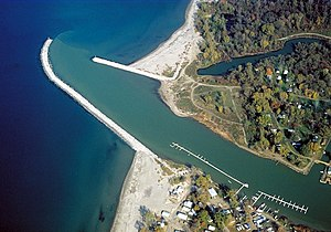Cattaraugus Creek - The mouth of Cattaraugus Creek on Lake Erie near Sunset Bay, New York.