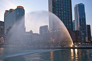 Centennial Fountain - The Centennial Fountain water arc.