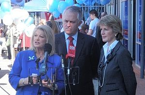 Malcolm Turnbull - Turnbull (centre) with deputy leader Julie Bishop (right) and Helen Coonan (left) in July 2009.