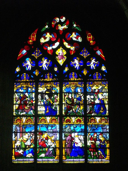 Stained glass window of Notre-Dame-en-Vaux collegiate church in Châlons-en-Champagne (Marne, France)  : Adoration by the magi, Massacre of the Innocents, Flight into egypt