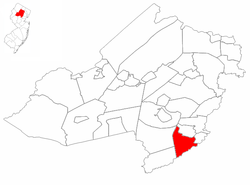 Chatham Township highlighted in Morris County. Inset map: Morris County highlighted in the State of New Jersey.