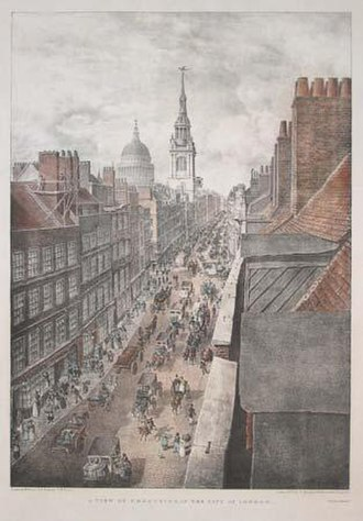 Cheapside - Cheapside in 1823, looking west towards St Paul's Cathedral
