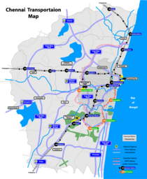 Map of the road and rail network in the Chennai metropolitan area