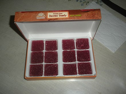 A box of prickly pear candy: These are often sold in Southwest U.S. gift shops. Cheri's prickly pear candy.jpg