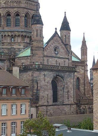 Strasbourg Cathedral - The genuinely Romanesque apse can only be seen from the courtyard of the adjacent complex of 18th-century buildings.