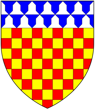 Chichester baronets - Arms of Chichester: Chequy or and gules, a chief vair. These are the arms of Sir John Chichester of Raleigh, knight, (died 1569) as depicted on his monument in Pilton Church, Devon, in which parish was situated the manor of Raleigh