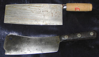 Cleaver - Chinese chef's knife (top) and old North American cleaver (bottom)