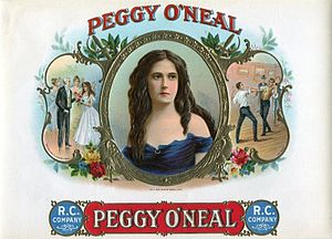 Peggy Eaton - Cigar box shows President Jackson introduced to Peggy O'Neal (left) and two lovers fighting a duel over her (right).