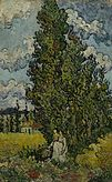 A painting of a large group of cypress trees, beside which two young women are walking, a large house in the background, under a bright blue sky.