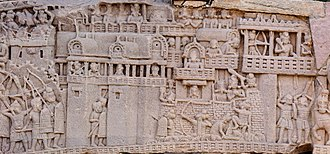Satavahana dynasty - Satavahana depiction of the city of Kushinagar in the War over the Buddha's Relics, South Gate, Stupa no. 1, Sanchi.