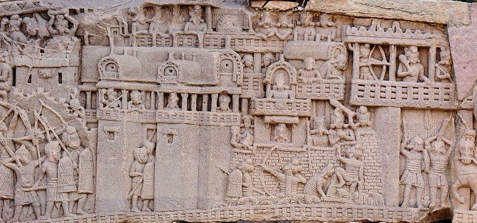City of Kusinagara in the War over the Buddha's Relics, South Gate, Stupa no. 1, Sanchi