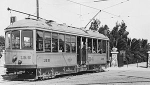 University Heights, San Diego - A Class 1 streetcar at Trolley Barn Park, near Mission Cliff Gardens in University Heights