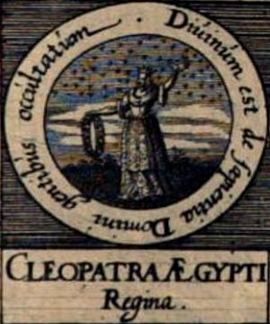 "Cleopatra the Alchemist - Imaginative depiction of Cleopatra the Alchemist from Mylius' 1618 Basilica philosophica ""Seals of the Philosophers""."
